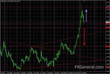Аналитический обзор от 25.08.2015, EUR-USD